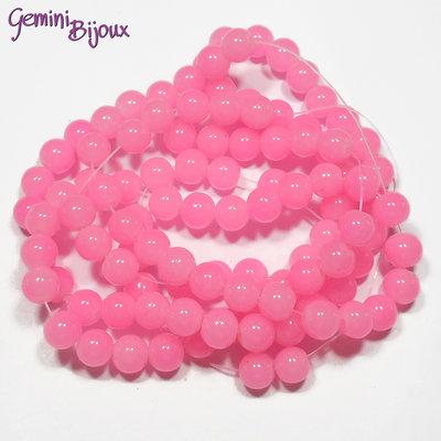 Lotto 20 perle tonde in vetro imitazione giada 8mm rosa