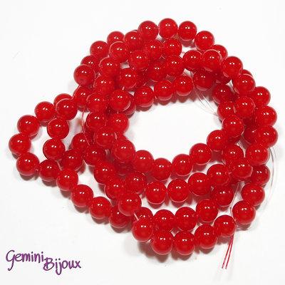 Lotto 20 perle tonde in vetro imitazione giada 8mm rosso