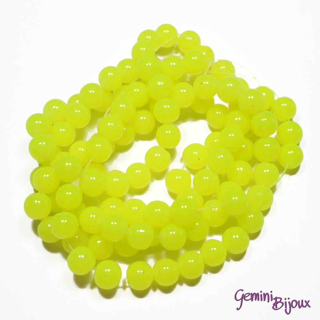 Lotto 20 perle tonde in vetro imitazione giada 8mm giallo limone