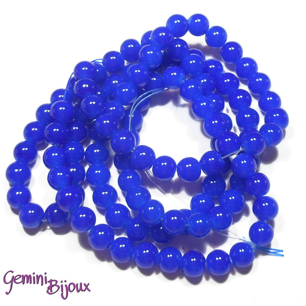 Lotto 20 perle tonde in vetro imitazione giada 8mm blu
