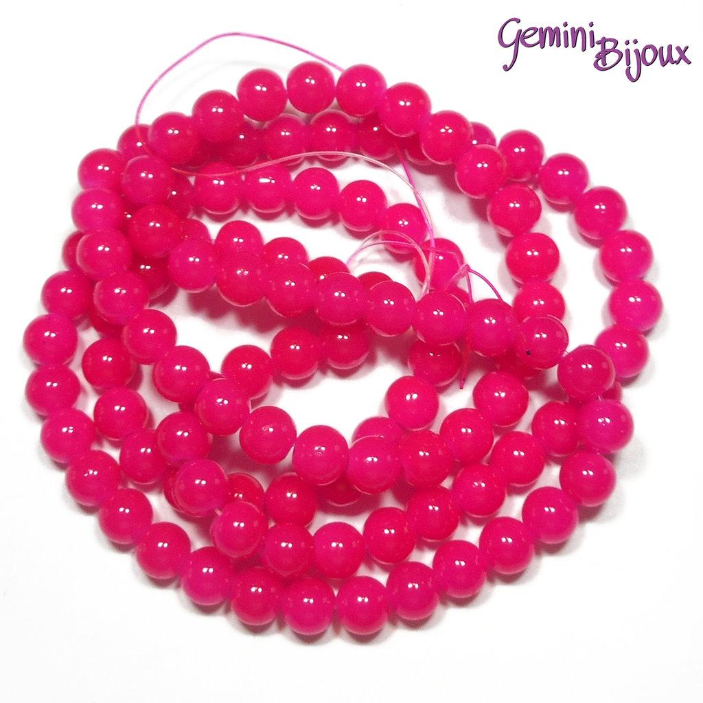 Lotto 20 perle tonde in vetro imitazione giada 8mm fuxia