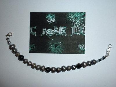 Bracciale Perle grigio-nere
