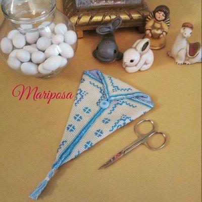 Portaforbici punto a croce - Idea regalo e Bomboniera per nascita,battesimo,comunione,compleanno
