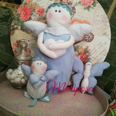 Set 3 pezzi ,angeli e farfalla - Idea regalo nascita,battesimo,compleanno