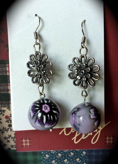 Orecchini con pendente in fimo e fiore argento antico