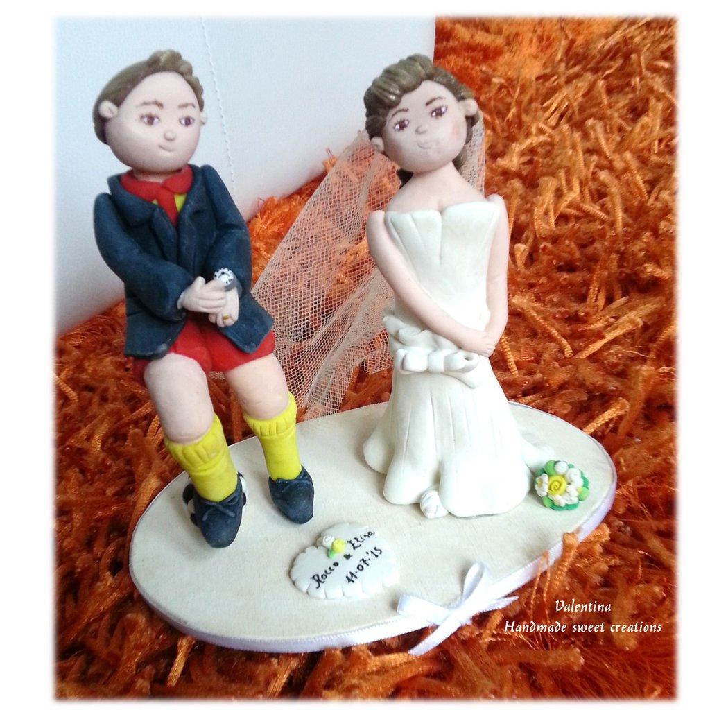 Cake topper sposi, sposo calciatore