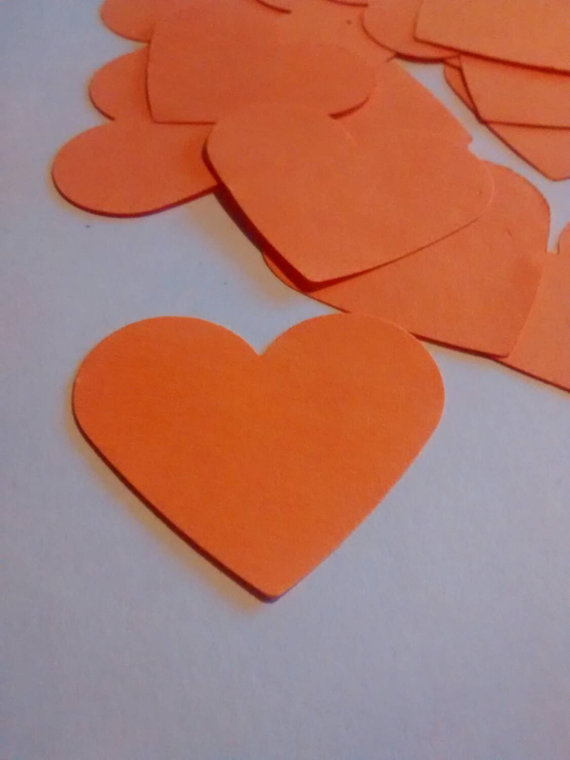 100 cuori arancione, confetti, coriandoli per matrimonio, eventi, feste