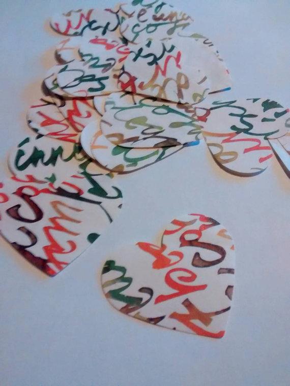 20 cuori colorati, lettere, confetti, coriandoli per matrimonio, eventi, feste