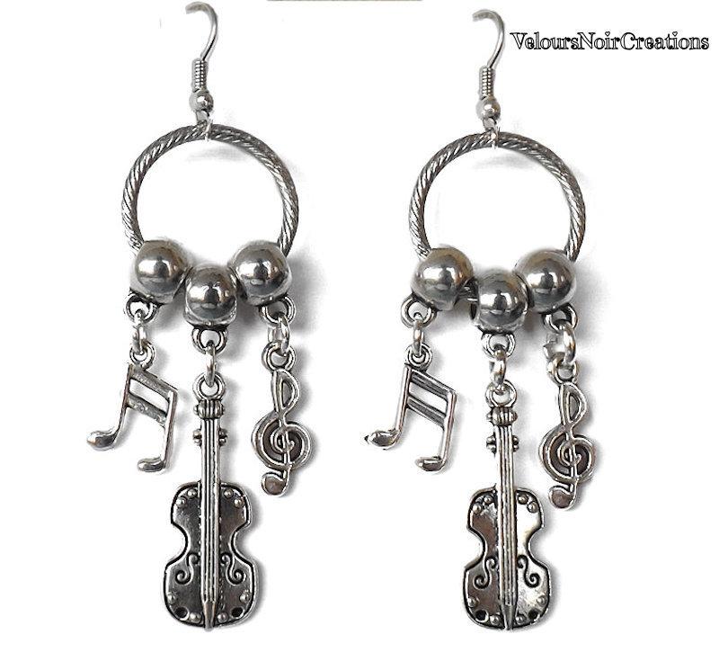 Orecchini violino e note musicali
