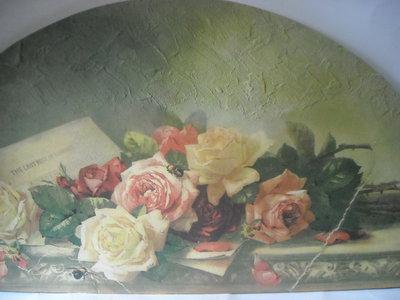 Finto affresco-sovrapporta con immagine di rose a découpage pittorico.PEZZO UNICO.SPEDIZIONE GRATUITA