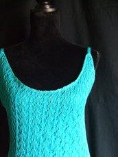 vestito cotone pizzo donna maglia lungo