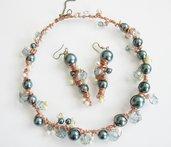 parure girocollo orecchini blu-argento su rame