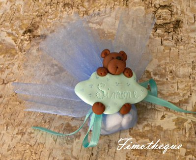 bomboniera calamita la nuvola e l'orsetto completa con tulle e confetti
