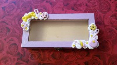 Scatola legno portaoggetti o porta tisane decorata con biscotti in fimo