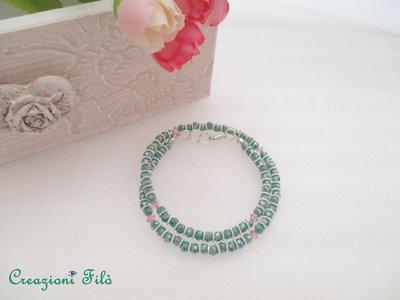 Bracciale doppio giro con swarovski e cristalli verdi