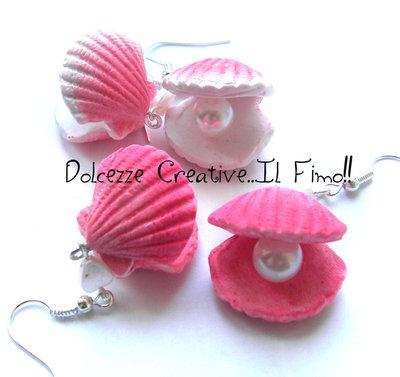Orecchini Conchiglie con perla - Ostrica - Colori pastello - Kawaii