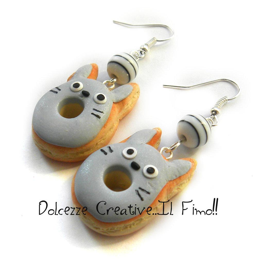Orecchini Ciambella - Donut - Totoro - Cartoon - Kawaii