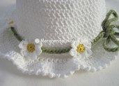 Decorazione per cappellino bambina, collana, cintura, fascetta a margherite - uncinetto