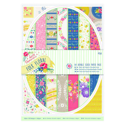 Blocco di carta A4 - Folk Floral