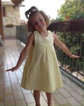 Vestito cotone giallo personalizzato con iniziale - Fatto a mano - Estate Bambina Neonata