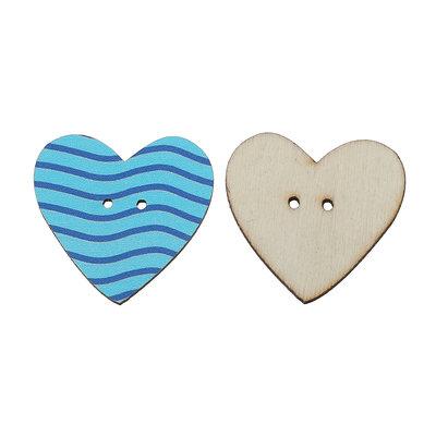 Set 5 bottoni - Cuore azzurro