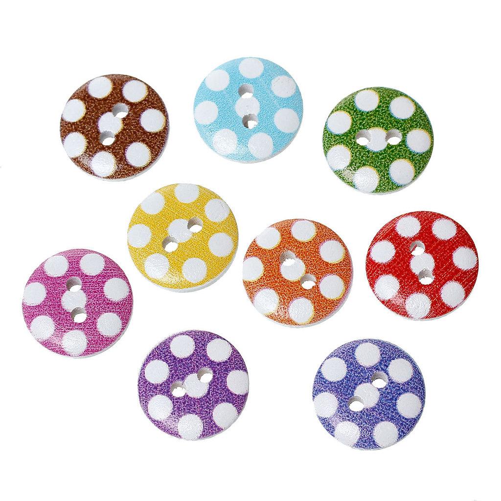 Mix 10 bottoni 15 mm - Pois