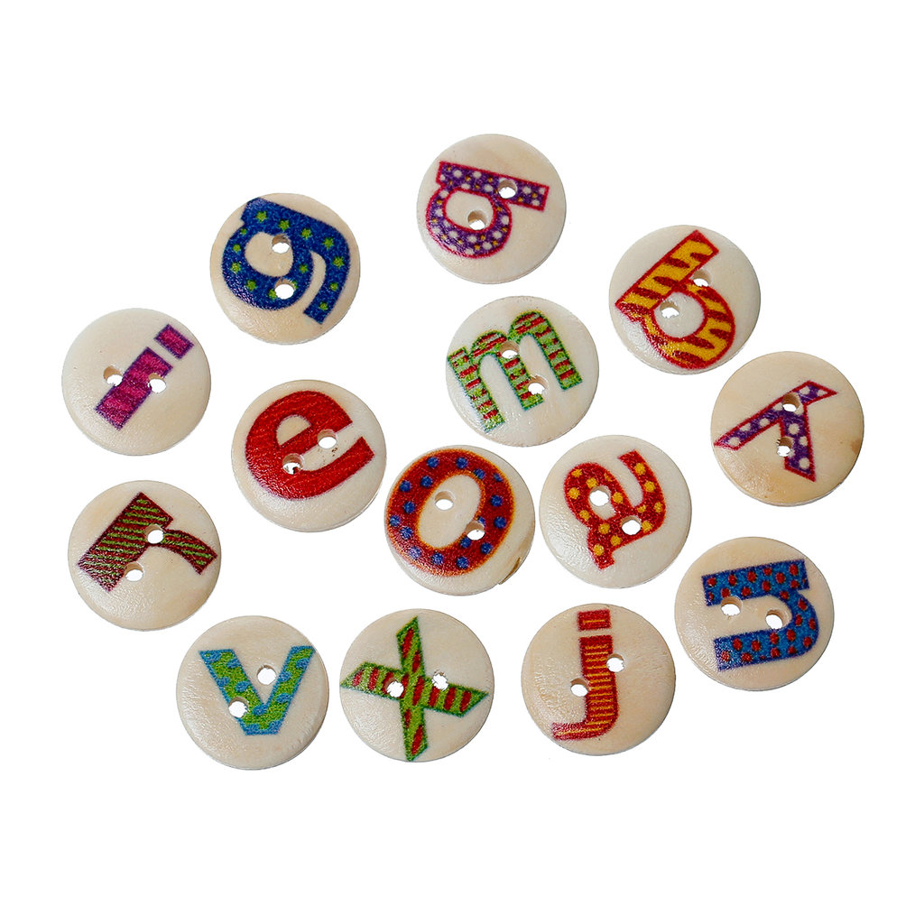 Mix 10 bottoni - Alfabeto