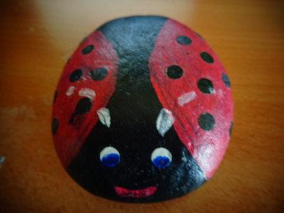 Coccinella dipinta su sasso