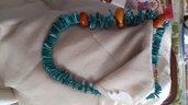 Collana turchese e sassi di Ambra