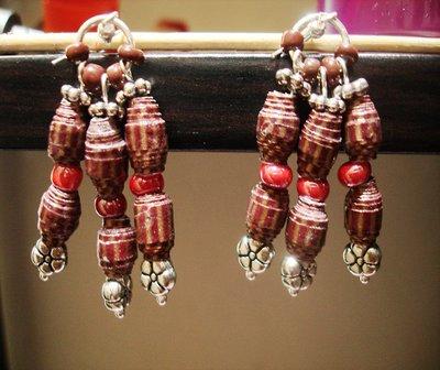 orecchini di carta con pendente realizzati a mano.