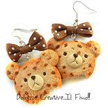 Orecchini Cookie - Biscotto a forma di Orso - Orsetto - Idea regalo - Cute - kawaii