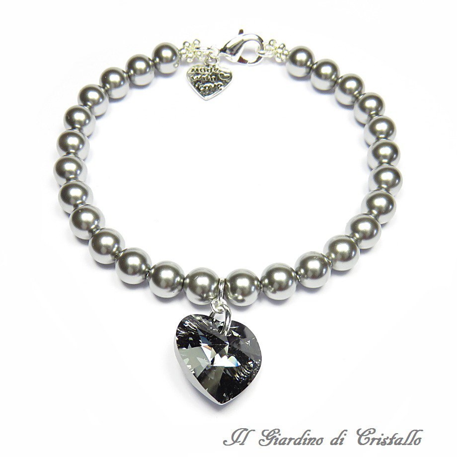 Bracciale con perle grigie e cuore di cristallo Swarovski nero argento fatto a mano - Primula