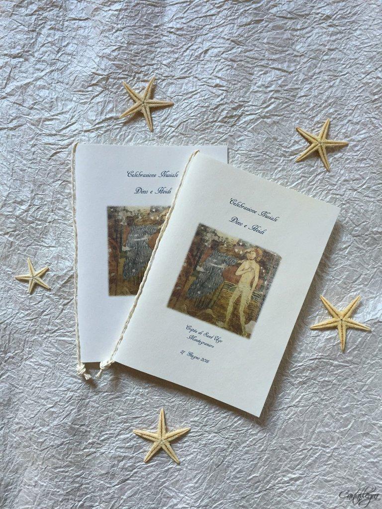 Libretto per messa degli sposi con copertina anticata a mano e cordoncino