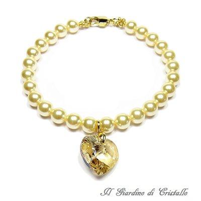 Bracciale con perle oro chiaro e cuore di cristallo Swarovski miele fatto a mano - Primula