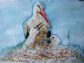 Gli uccelli ( Il nido della cicogna )  acquarello  dipinto originale / Birds (The stork's nest) Original watercolor painting