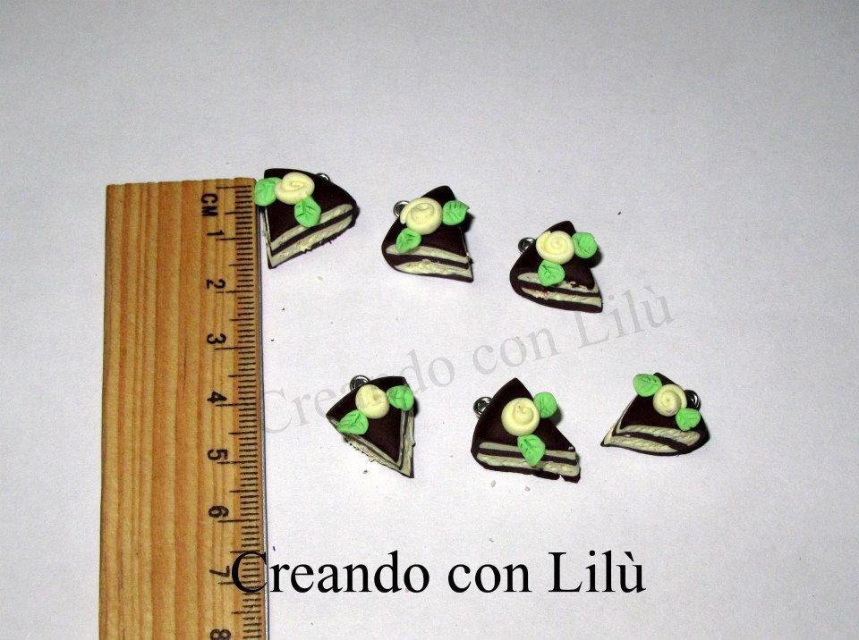 lotto 4 ciondoli in fimo fettine di torta vaniglia CIOCCOLATO
