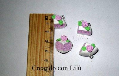 lotto 4 ciondoli in fimo fette di torta panna fragola