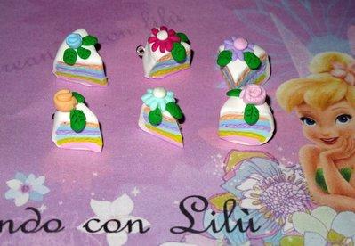 LOTTO 4 FETTE TORTA CIONDOLI IN FIMO RAINBOW