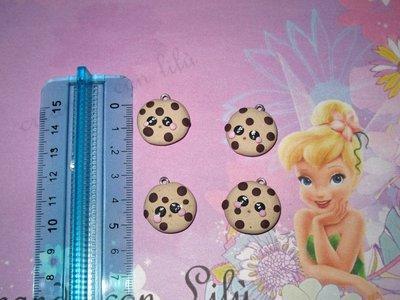 ciondolo in fimo biscotto tondo gocce di cioccolato hawaii cm2