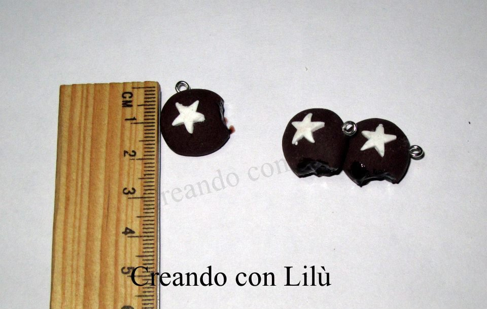 CIONDOLO IN FIMO MOONCAKE CON GLASSA AL CIOCCOLATO