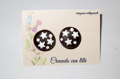 orecchini in fimo biscotto con stelle