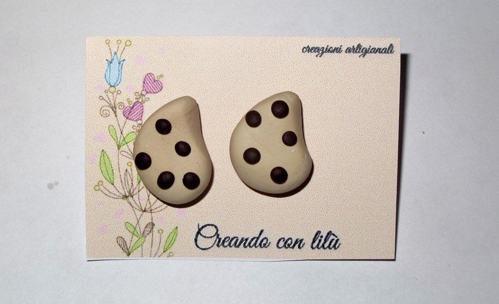 orecchini in fimo biscotti gocce di cioccolato