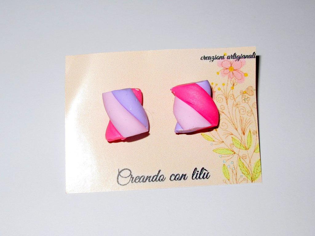 orecchini in fimo marshmallow