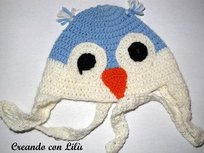 cappellino bimbo/bimba uncinetto lana gufetto 3-6 mesi