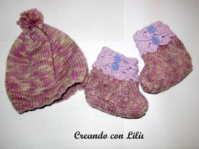 completo uncinetto in lana stivaletti bimba + cappello 3-6 mesi