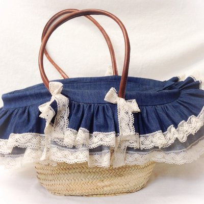 Borsa di paglia artigianale con manici in pelle in stile country