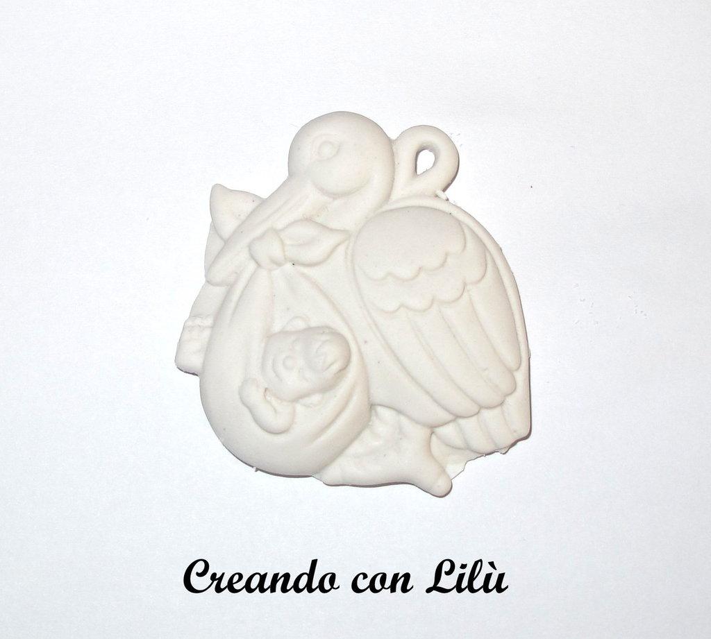 gessetto profumato cicogna con bebè 5cm