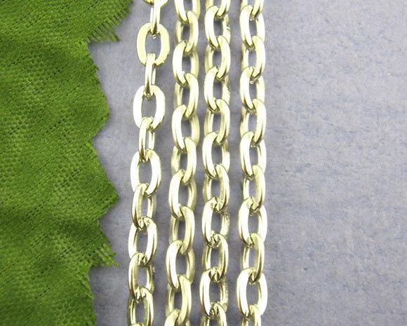 Catena maglia piatta 3x5mm tono argento 5mt
