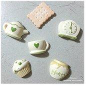 Formine ceramica dipinte teiera tazze muffin bomboniera