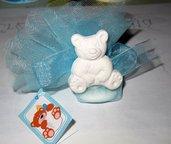 bomboniera completa nascita battesimo gessetto profumato orsetto